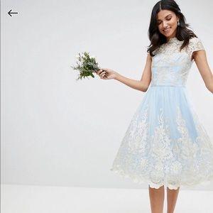 Chi Chi London Tall Premium Lace Midi Prom Dress